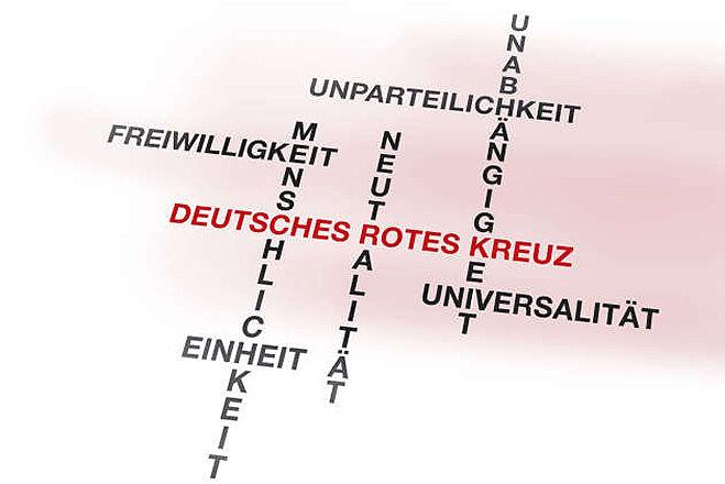 Grafik: Niedergeschriebene Rotkreuzgrundsätze vereinen sich im Namen Deutsches Rotes Kreuz